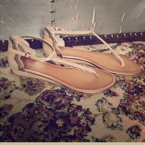 Seychelles Tan Leather Thong Wedge Sandal Sz 6